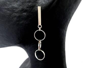 Geometric long earrings in silver law