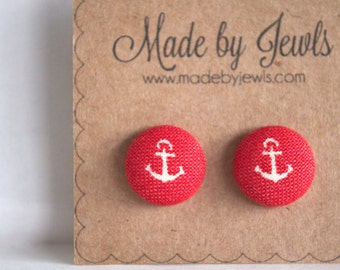 Red and White Nautical Anchor Fabric Covered Hypoallergenic Button Post Stud Earrings 10 mm