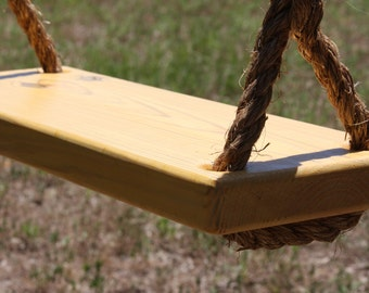 Wooden Yellow Tree Swing, Double Rope
