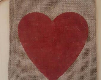 Burlap Bag, Heart Valentine's Day Burlap Holiday Bags, Burlap Gift Bags, Gift Bags, Goodie Bags, Party Bags, Valentine's Party Bags