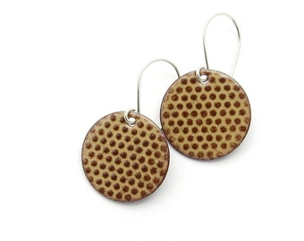 Brown Polka Dot Earrings with Sterling Silver Earwires - Modern Enamel Jewelry for Everyday Wear - Birthday Gift for Sister