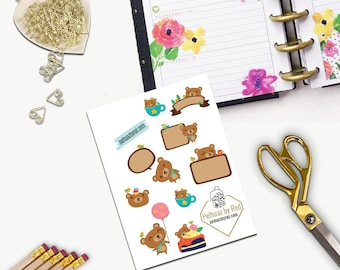 Beary Lovely Stickers, All Happy Planner Stickers, Add On Set, Stickers, Printed, Cut, Functional Sticker, Any Planner, Cute Bear, Bear