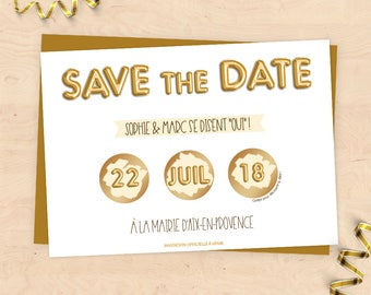 """Save the Date"" scratch wedding invitation custom - Collection gold balloons"