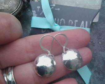Pretty Sterling Silver Domed Earrings, Handmade Full Moon Hammered Earrings. Perfect For Any Occasion.