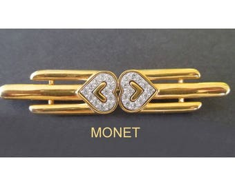MONET Bar Pin * Rhinestone Hearts * Classic Vintage Jewelry