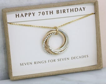 70th birthday gift, 7 rings necklace, 70th birthday gift for mother, gift for 70th birthday necklace - Lilia