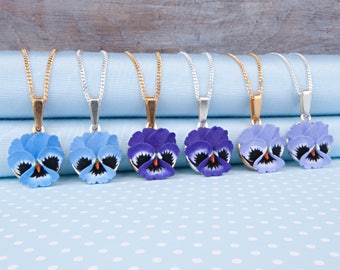 Pansy Pendant Necklace in a choice of colours