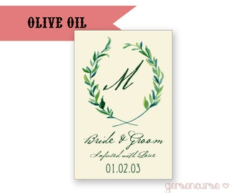 Personalized Olive Oil Favor Label Design - Infused With Love / DIGITAL FILE