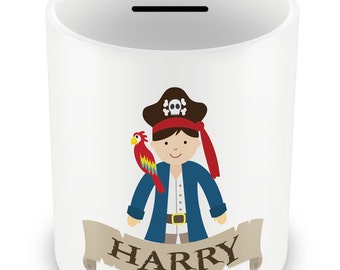 Personalized Pirate Money Box - Piggy Bank Savings Gift Idea Pirate Boys Captain name kids children