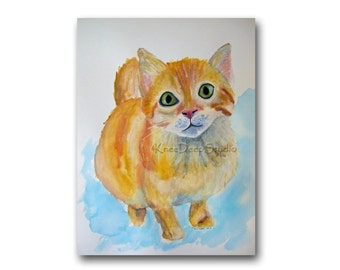 Kitten Painting Contemporary Fine Art Cat Watercolor Orange Tabby Cat Portrait Small Wall Decor 9x12 Art for Nursery benefits animal charity