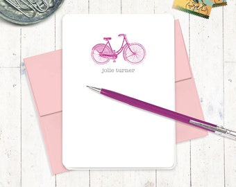 personalized stationery set - VINTAGE GIRLS BICYCLE - set of 8 folded cards - stationary - women's bike - girls bike - gift for her