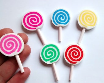 6 swirl polymer lollipop cabochons, - fake candy, lollipop cabs, lolly, 3D, -  craft supplies, -  deco, - scrapbooking, - card making,