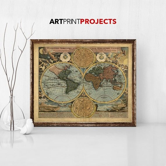 World map poster rustic vintage style travel map large gumiabroncs Image collections