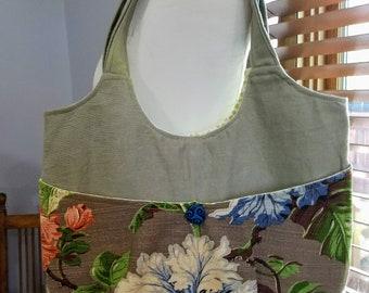 Upcycled Vintage Barkcloth Tote Bag