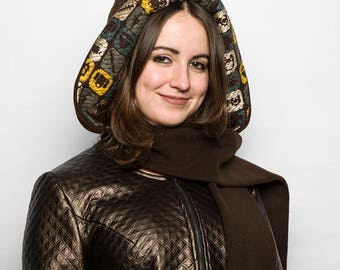 UNIQUE model / scarf hood in wool/plain brown/double printed multicolored/warm and original/woman/size only