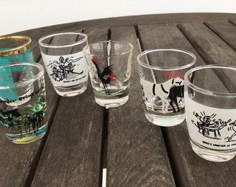 Lot of six vintage shot glasses