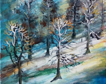 "Original Acrylic Painting, Forest in Winter Snow, 9""x12"", 180409"