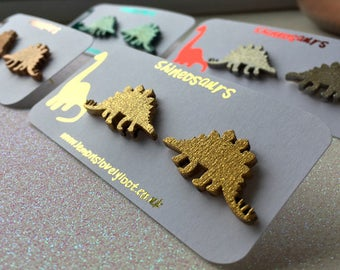 Shineosaurs - Sparkly Dinosaur Stud Earrings - Triceratops - Stegosaurus - Dino