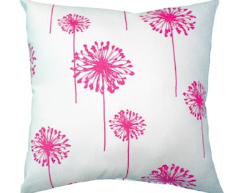 Premier Prints Dandelion White and Candy Pink Floral Double Sided Decorative Throw Pillow Free Shipping