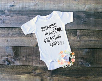 Baby Onesie/Breaking Hearts and Blasting Farts/Cute/ Funny/New Baby/New Parents/Baby Shower Gift/Nursery/Clothing Infant/ Babyshower gift