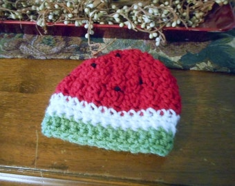 Sweet Little Baby Red Watermelon Cap cloche Hat - summer attire accessory sun cover fruit water melon handmade to order. Maybaby© Collection