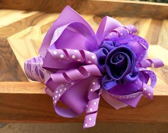 Purple Dots & Flower Bow Headband