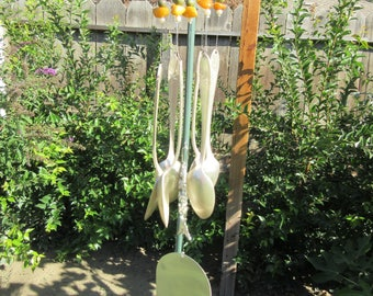 MOTHERS DAY SPECIAL - Antique Silverware Wind Chimes - Real Stone Beads