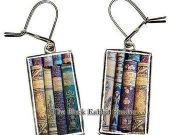 Shabby Books Earrings, book earrings, library earrings, teacher's gift, Hypoallergenic Earrings