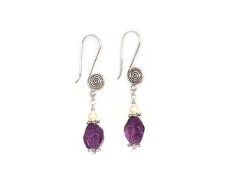 Amethyst and Freshwater Pearl Sterling Silver Earwire Dangle Earrings - Free Shipping