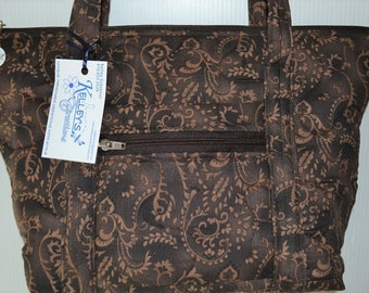Quilted Fabric Bag Beautiful Brown with a Pretty Light Brown Design