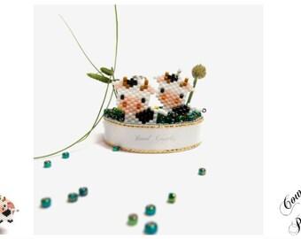 Cow Charm Bead PATTERN, Miyuki Seed Beads | Digital File