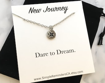 New Journey Necklace, Tiny Silver Compass Necklace Card, Dare to Dream, Dainty Compass Charm, Traveling Gifts, New Beginnings, Friendship