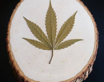 Gold Cannabis Leaf On Wood Round | Limited Edition