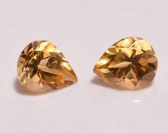 Natural Citrine 4.05cts Pear shape size 8x10 citrine faceted gemstone bright flashy gems.Loose Gemstone pair RA-20