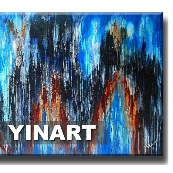 Blue abstract art, abstract painting, waterfall, landscape painting, White Blue Black Global Warming Art