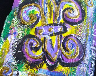 New Orleans Wild Funky Fluer de lis original painting on roofing paper