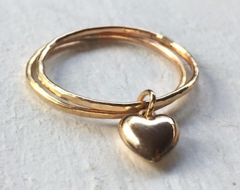 Tiny heart ring, gold filled, heart ring, valentines heart jewelry
