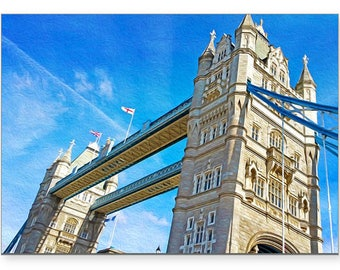 Tower Bridge, London Art Print, Photo Greeting Card, Photo Note Card, Handmade Card, OOAK Card, All Occasion Card, 5x7 Blank Card, Fine Art