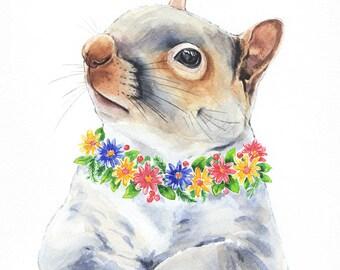 Floral Squirrel Watercolor, Woodland Watercolor Print, Woodland Animal Print, Squirrel Wall Decor, Nursery Art, Woodland Animals