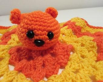 Orange bear Lovey - Teddy bear toy - Star Lovey