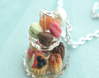 french pastries necklace- miniature food jewelry, french macaron necklace, dessert jewelry