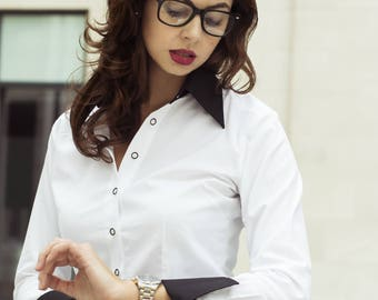 Women's Business Shirt with Collar & Cuffs