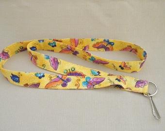Laurel Burch Butterflies - handmade fabric lanyard
