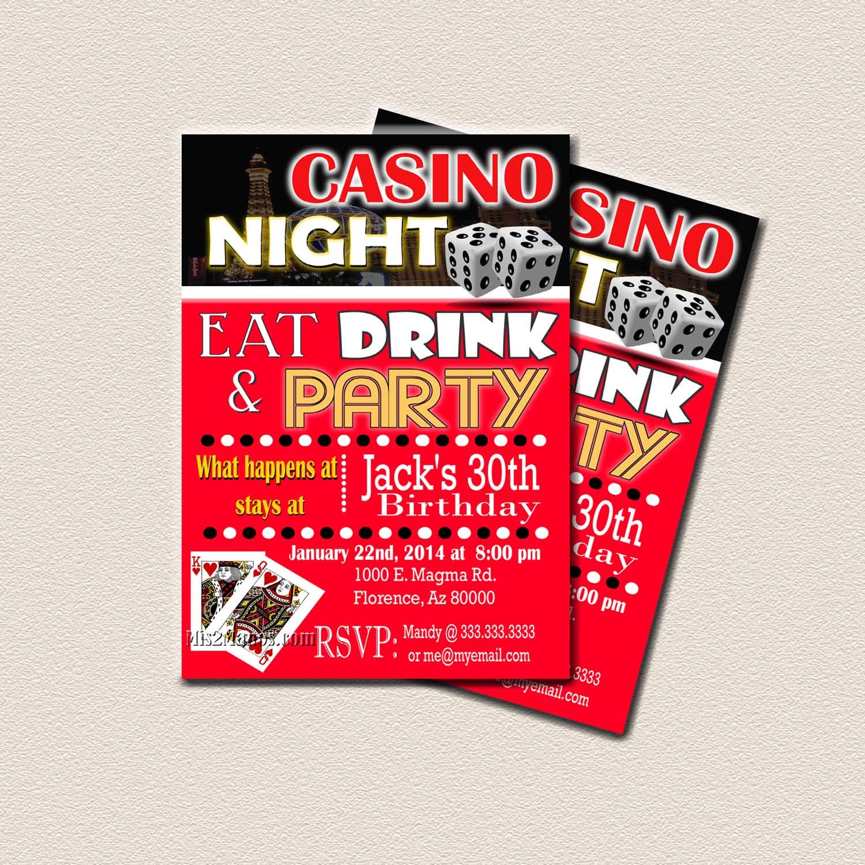Casino Theme Party Surprise Birthday Party Printable 30th