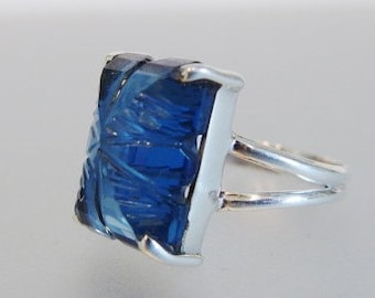 Vintage Sterling Silver Chunky Rectangle Carved Blue Glass Ring