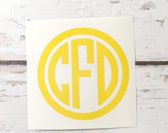 Circle Monogram Vinyl Decal Car Decal Notebook Decal Small Monogram Decal Laptop Decal Personalized Sticker Initials