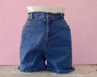 Vintage Denim Jean Shorts, 90s Bill Blass Jean Shorts, High Waisted Denim Jean Shorts, 90s Mom Shorts, Women's 90s Plus Size 16 Denim Shorts