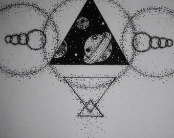 Geometric Space Tattoo Design