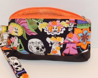 Sugar Skull; Day of the Dead Wristlet/Clutch; Clematis; READY TO SHIP