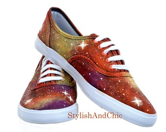 Orange Galaxy Shoes - Hand Painted